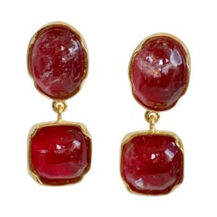 Goossens Paris Berry Tone Rock Crystal Cabochon Clip Earrings