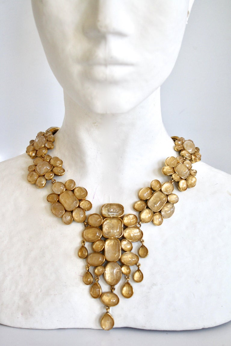 Gorgeous clear rock crystal necklace set on gold in a drop floral shape from Goossens Paris.   Drop is 4