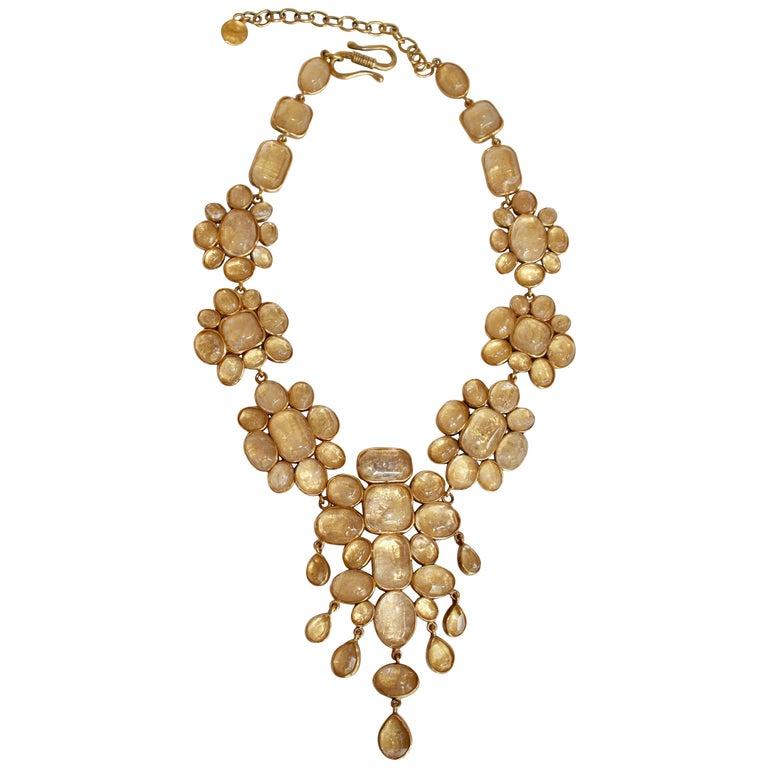 Goossens Paris Cocktail Cabochon Statement Necklace For Sale