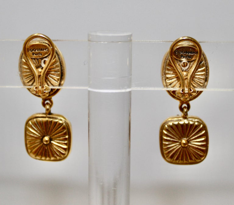 Hand tinted rock crystal in blue drop clip earrings, set on 18-carat dipped bronze.