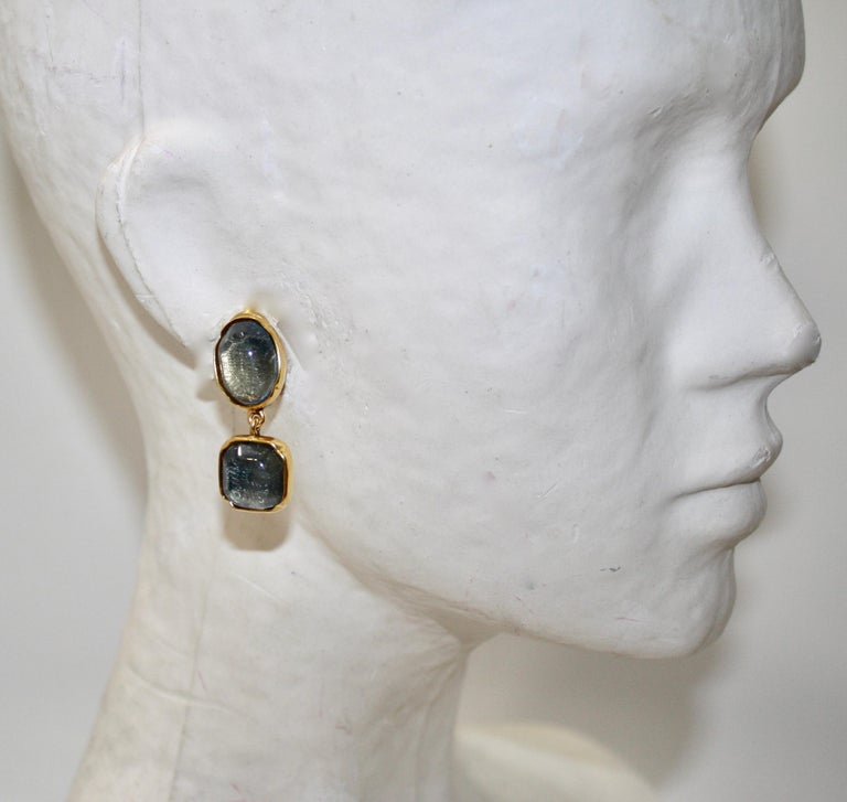 Modern Goossens Paris Double Cabochons clip Earrings  For Sale