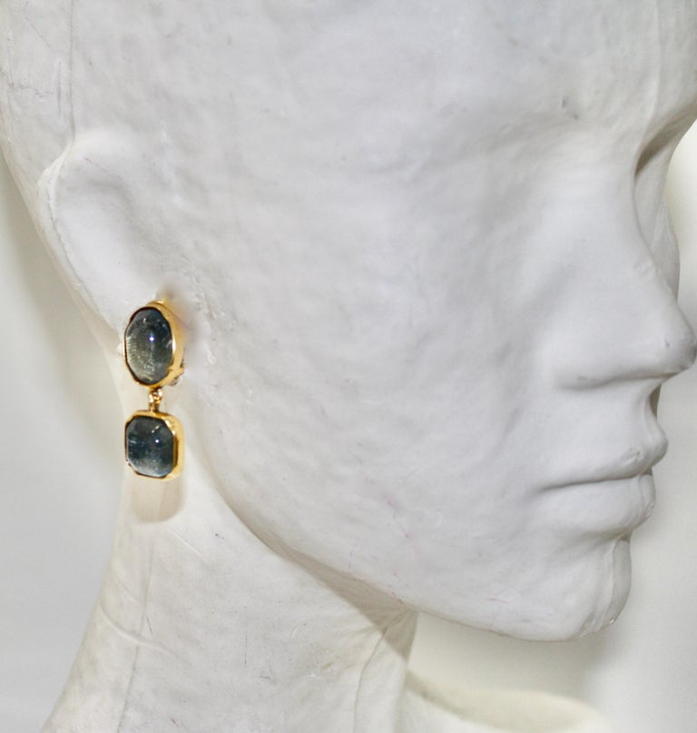 Goossens Paris Double Cabochons clip Earrings  In New Condition For Sale In Virginia Beach, VA