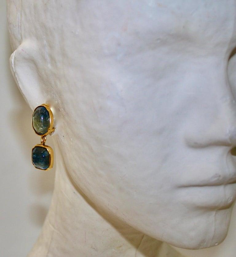 Women's or Men's Goossens Paris Double Cabochons clip Earrings  For Sale