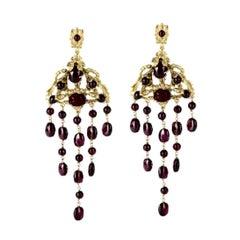 Goossens Paris Gilded Bronze and Garnet Chandelier Earrings