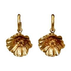 Goossens Paris Gilded Bronze Poppy Flower Earrings