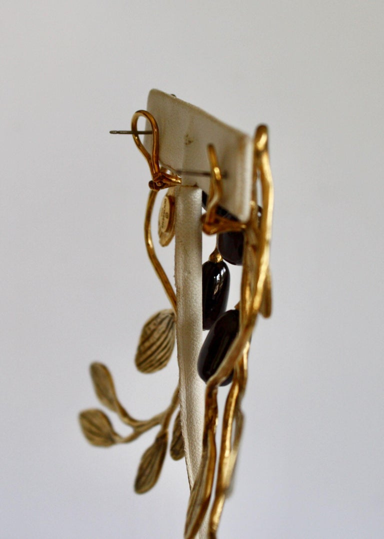 Women's Goossens Paris Gold and Garnet Pierced Earrings For Sale