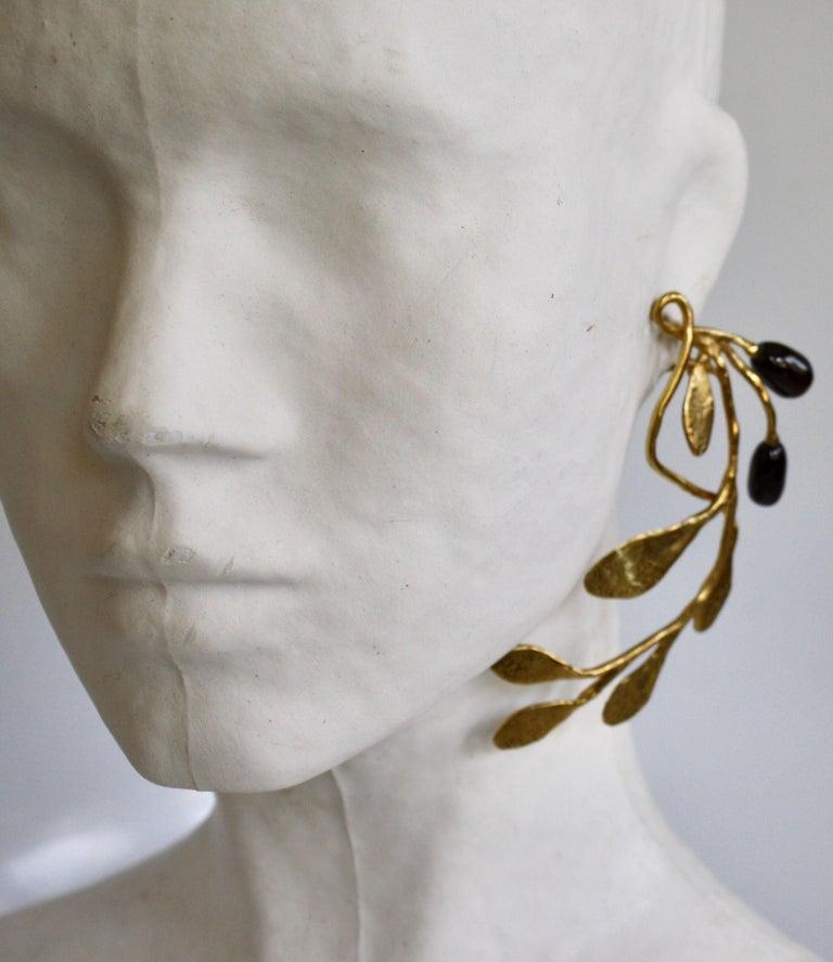 Goossens Paris Gold and Garnet Pierced Earrings For Sale 1
