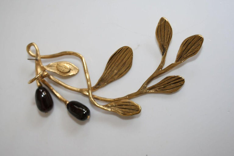 Goossens Paris Gold and Garnet Pierced Earrings For Sale 2