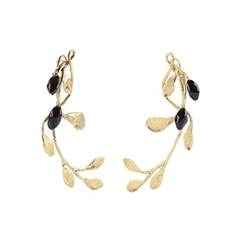 Goossens Paris Gold and Garnet Pierced Earrings For Sale