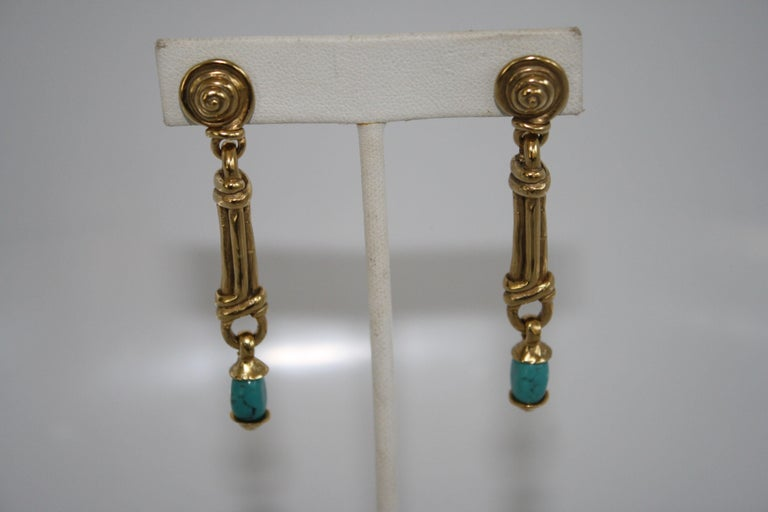 Goossens Paris Gold and Turquoise Pierced Earrings In New Condition For Sale In Virginia Beach, VA