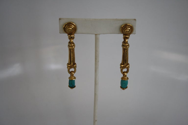 Women's Goossens Paris Gold and Turquoise Pierced Earrings For Sale