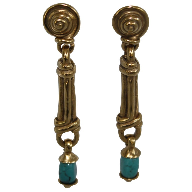 Goossens Paris Gold and Turquoise Pierced Earrings For Sale