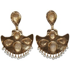 Goossens Paris Gold Clip Fan Earrings with Rock Crystals and Freshwater Pearls