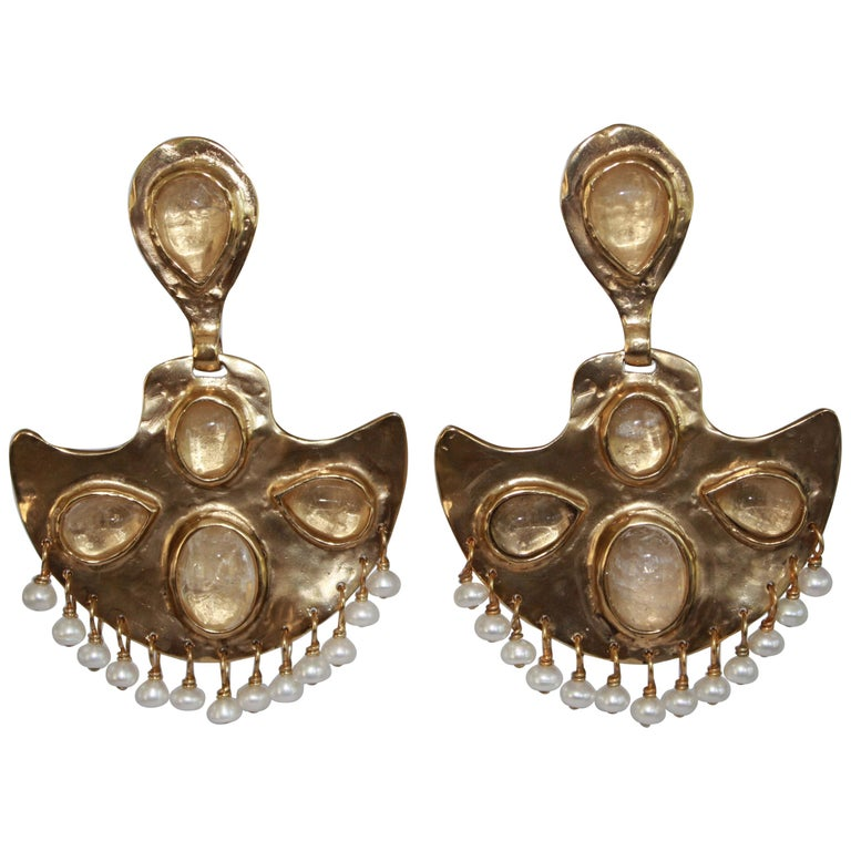 Goossens Paris Gold Clip Fan Earrings with Rock Crystals and Freshwater Pearls For Sale