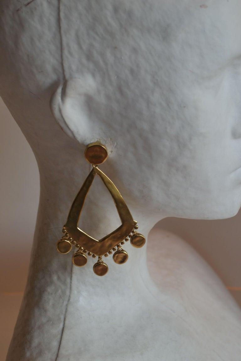 Women's Goossens Paris Gold Statement Armure Clip Earrings For Sale