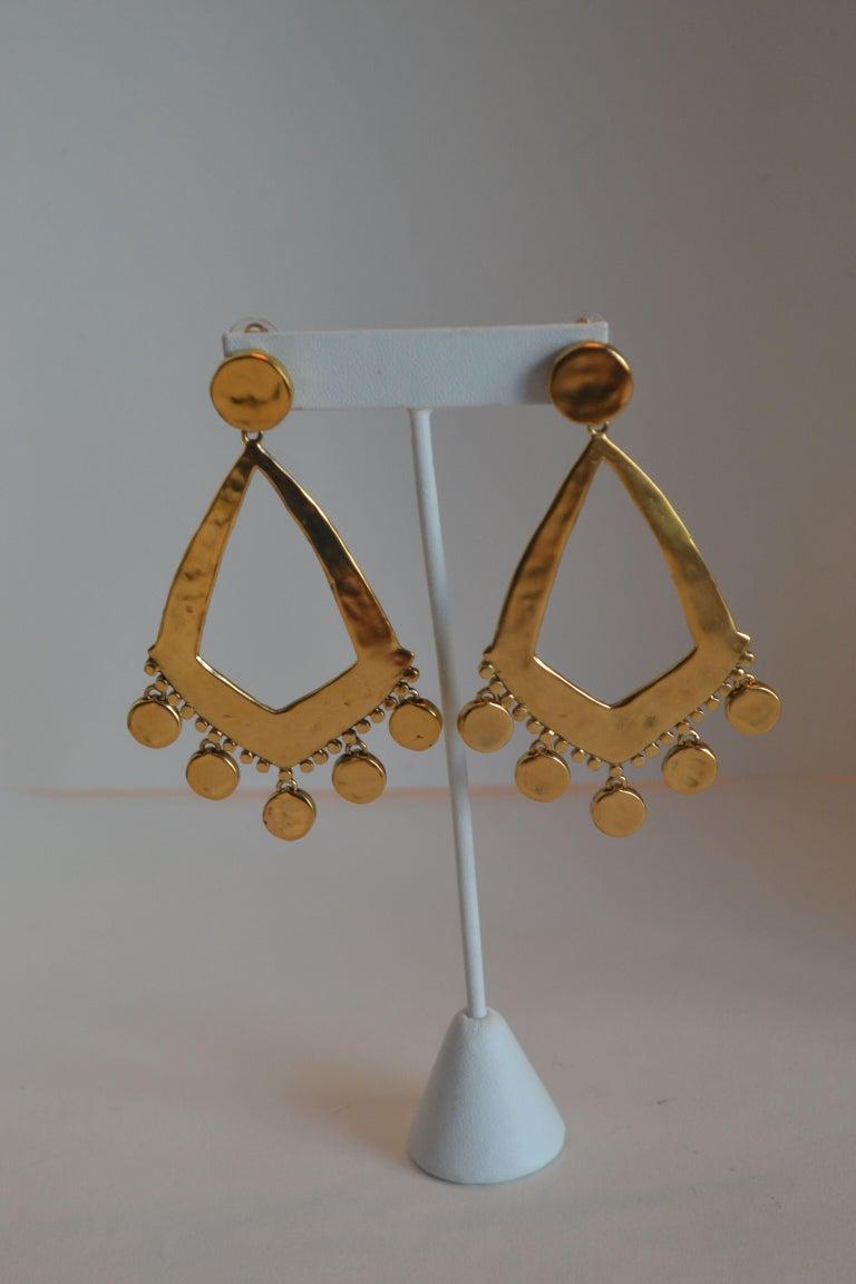 Goossens Paris Gold Statement Armure Clip Earrings For Sale 1