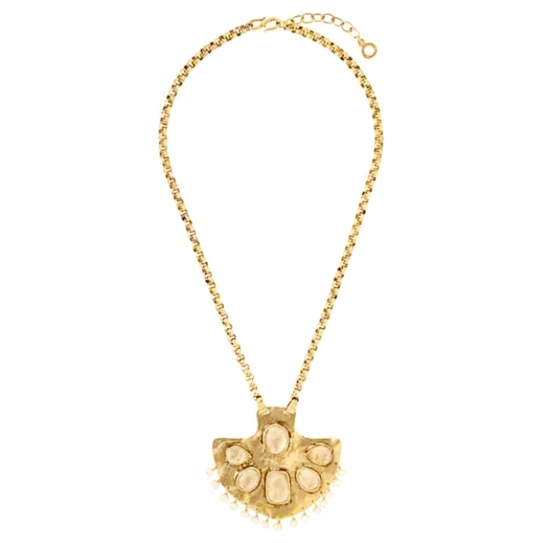 Goossens Paris Gold Toned Brass and Rock Crystal Necklace For Sale
