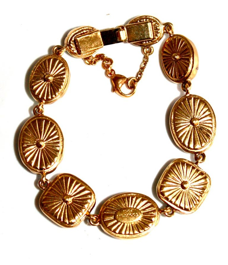 Modern Goossens Paris Green Cabochons Bracelet