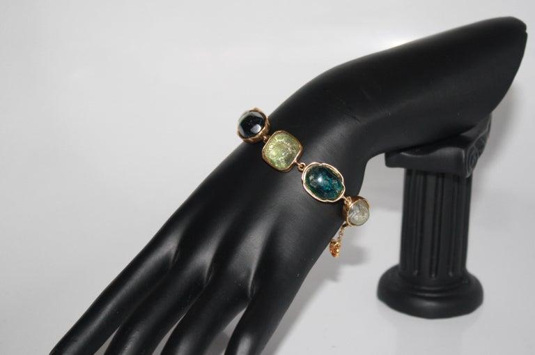 Women's or Men's Goossens Paris Green Cabochons Bracelet