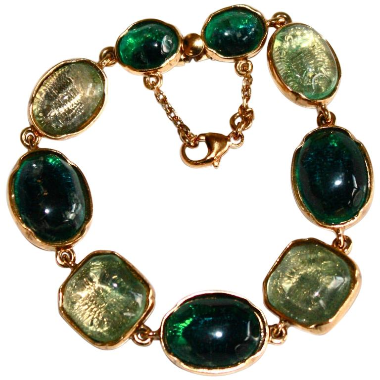 Goossens Paris Green Cabochons Bracelet