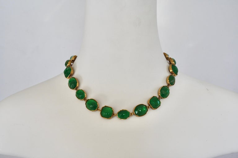 Green tone rock crystal necklace (hand painted) set in 24k plated brass from Goossens Paris.