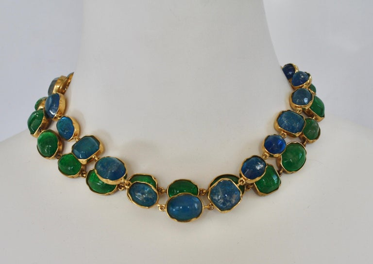 Goossens Paris Green Tinted Rock Crystal Necklace In New Condition For Sale In Virginia Beach, VA