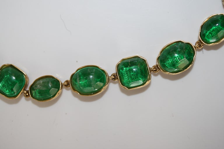 Women's Goossens Paris Green Tinted Rock Crystal Necklace For Sale