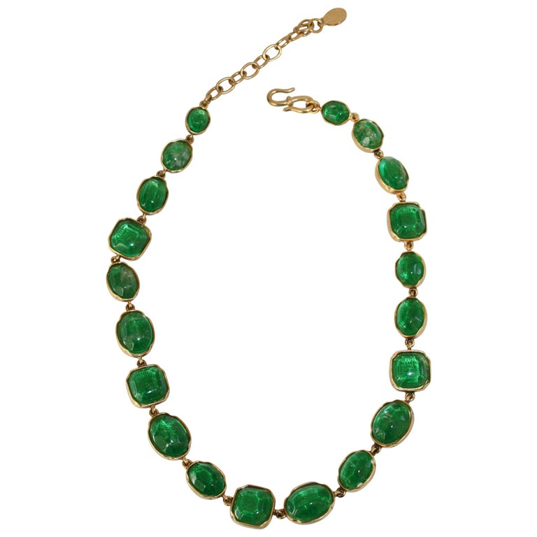 Goossens Paris Green Tinted Rock Crystal Necklace For Sale