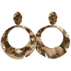 Goossens Paris Hammered Gold Circle Drop Earrings