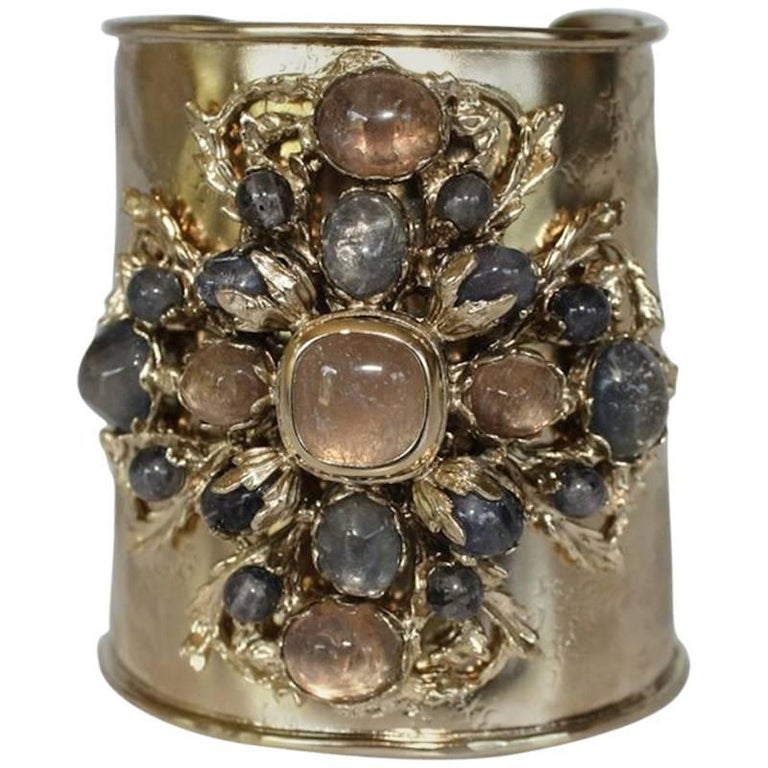 Gilded bronze, iolite and tinted rock crystal cuff bracelet from Goossens Paris. Bronze is soft so bracelet adjusts to fit both small and large wrists.
