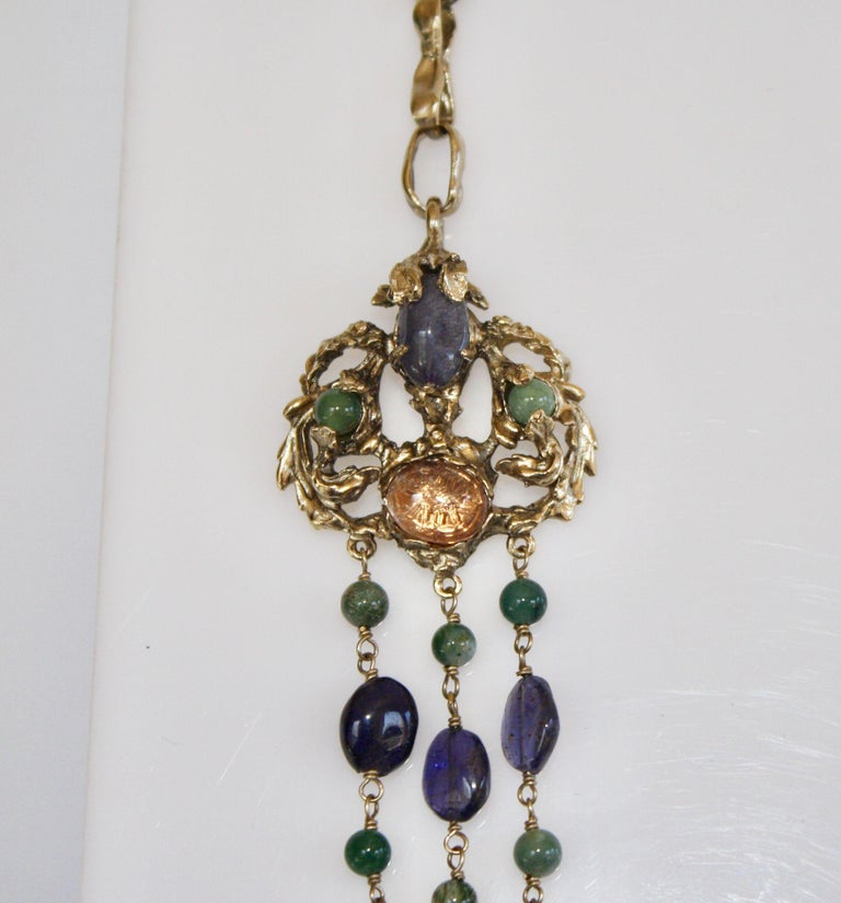 Goossens Paris Iolite and Tinted Rock Crystal Necklace In New Condition For Sale In Virginia Beach, VA