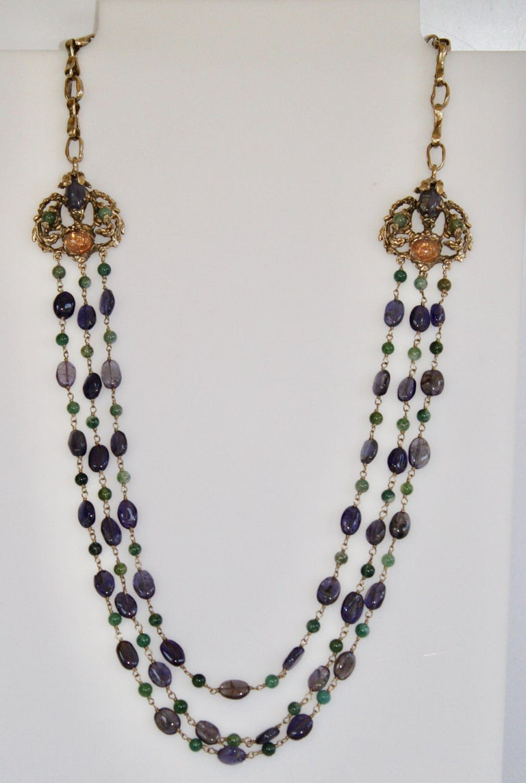 Women's Goossens Paris Iolite and Tinted Rock Crystal Necklace For Sale