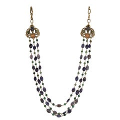 Goossens Paris Iolite and Tinted Rock Crystal Necklace