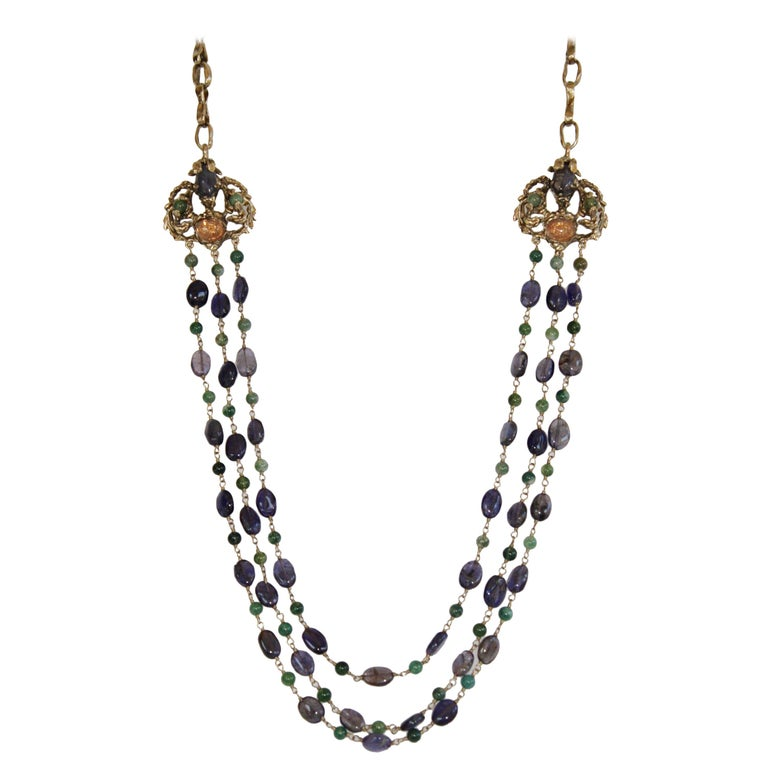Goossens Paris Iolite and Tinted Rock Crystal Necklace For Sale