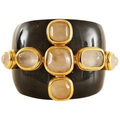 Goossens Paris Resin and Rose Quartz Wide Bangle Bracelet