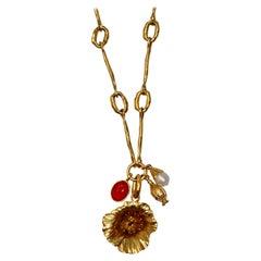 Goossens Paris Talisman Poppy Flower Necklace