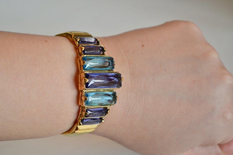 Goossens Paris Tinted Blue Rock Crystal and Gold Cuff  In New Condition For Sale In Virginia Beach, VA