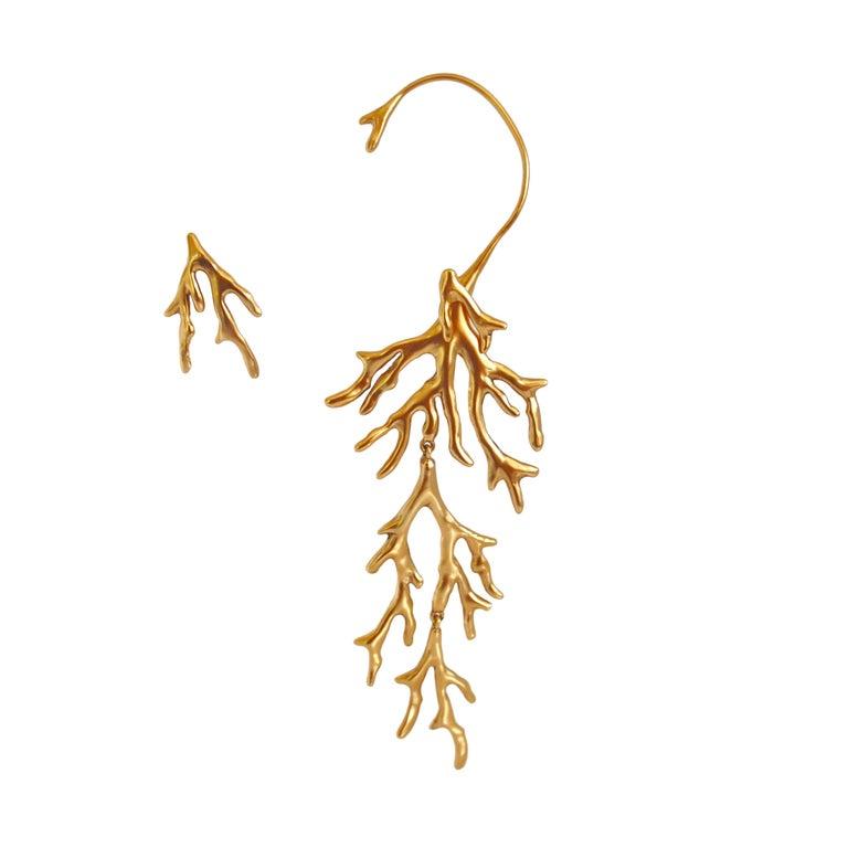 """Goossens Paris Tribute """"Coral"""" Asymmetric Earring Set For Sale"""