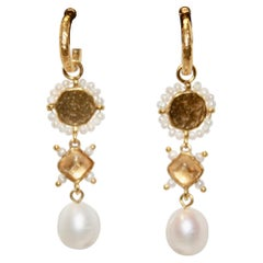 Goossens Paris Venise Pearl and Bronze Earrings