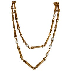 Goossens Paris Yellow Gold and Pearl Long Necklace