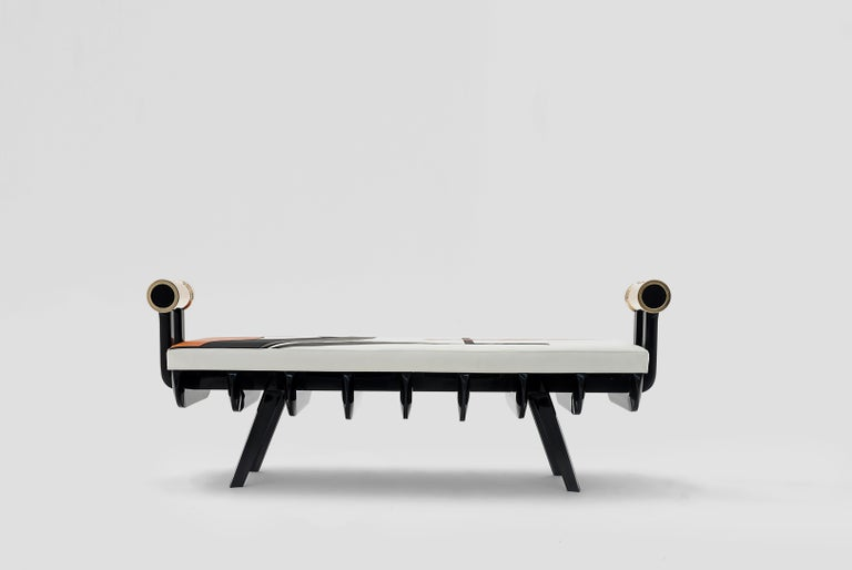 Gor is a bench designed by Arturo Verástegui for Breur Estudio, and intervened by Raymundo Sesma. This piece is part of Arte y Ebanistería, Breur Estudio third collection, in which they collaborated with top artists to achieve exceptional