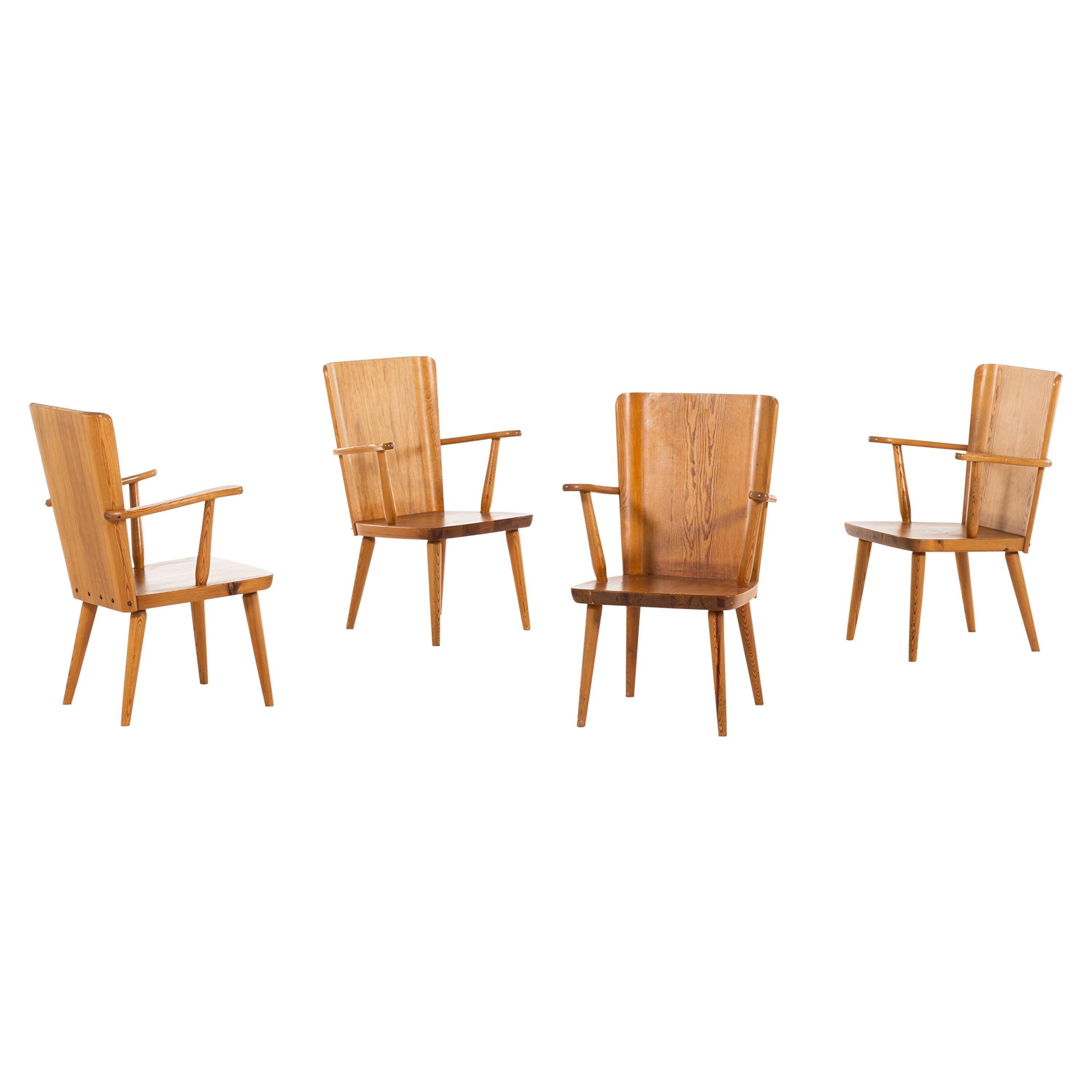 Göran Malmvall Armchairs in Pine Produced by Svensk Fur in Sweden