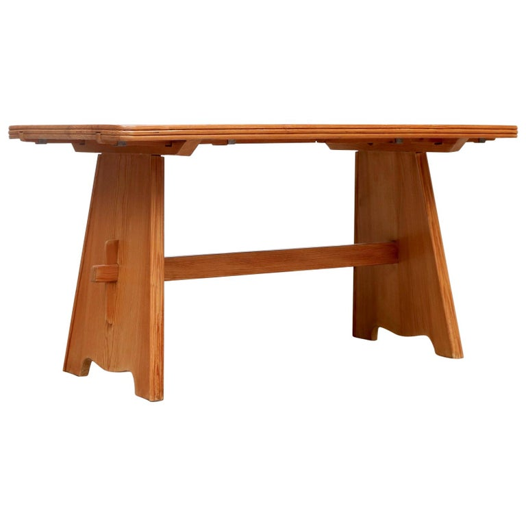 Göran Malmvall Pine Dining Table with Leaves For Sale