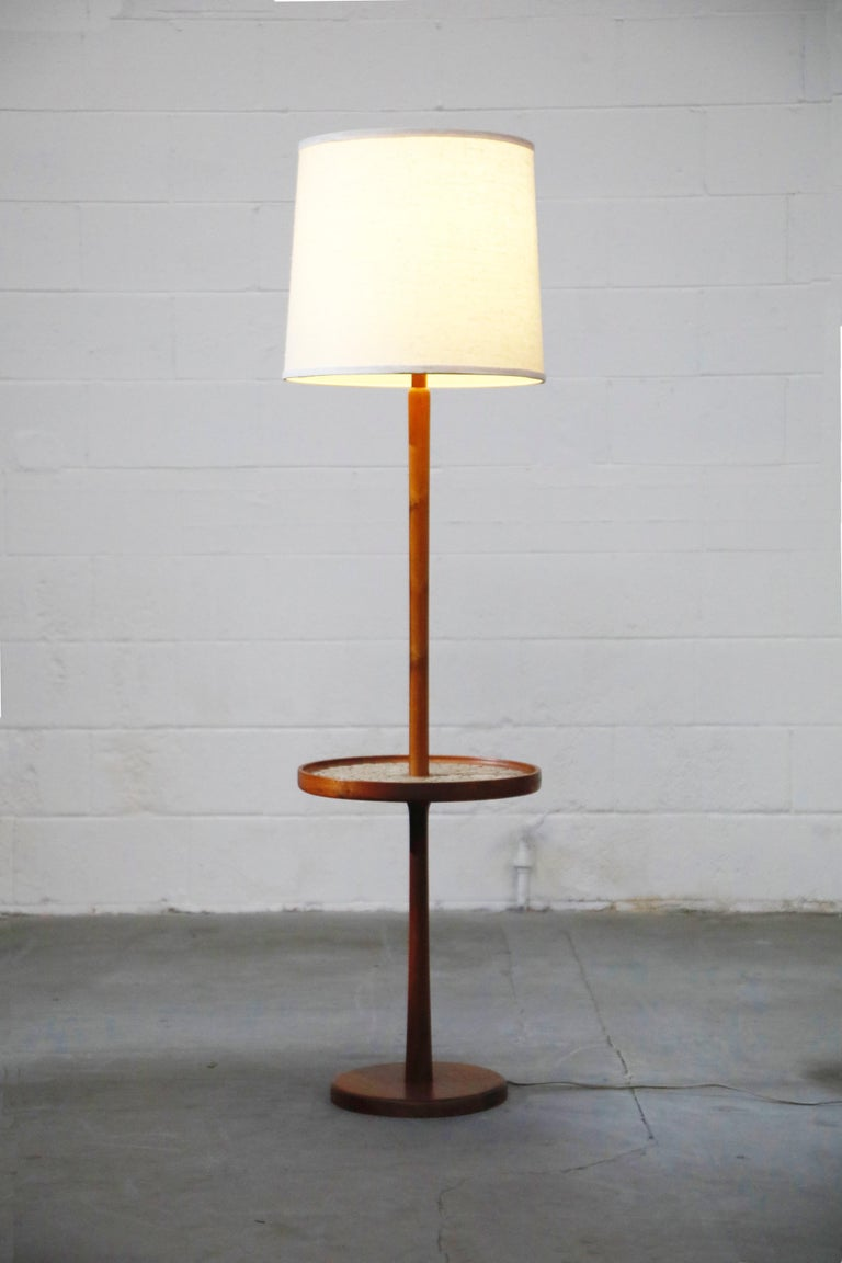 Mid-Century Modern Gordon and Jane Martz for Marshall Studios Floor Lamp with Ceramic Tiles Table For Sale