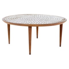 Gordon and Jane Martz for Marshall Studios Mid Century Walnut and Mosaic Round C