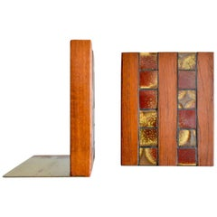 Gordon and Jane Martz Walnut and Ceramic Tile Inlay Bookends, circa 1960