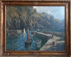 Mullion Cove - British 20's art Cornish marine seascape oil painting RA exhibted