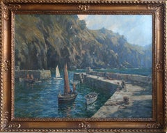 Mullion Cove Cornwall - British 1921 art marine seascape oil painting RA exhib.