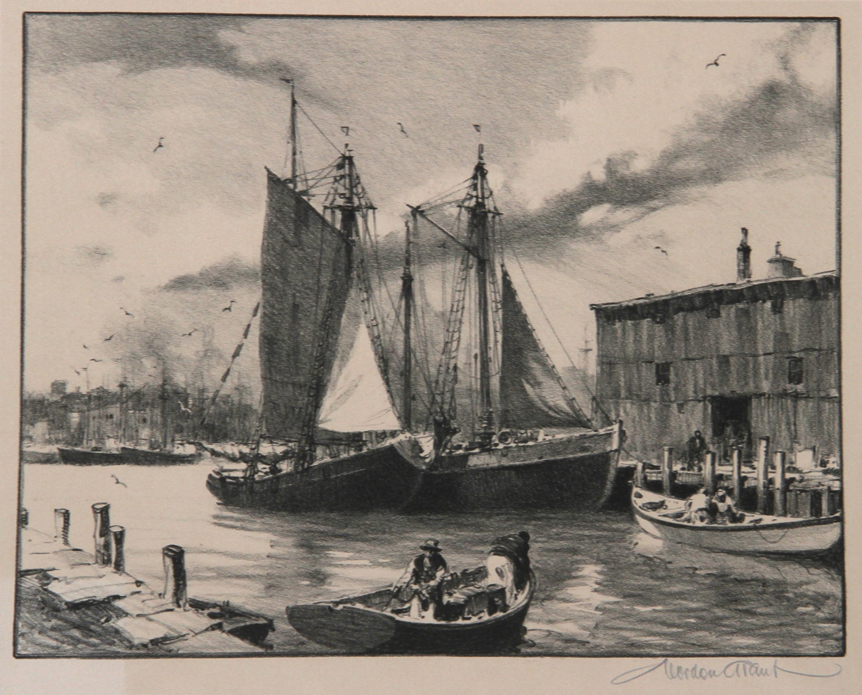 Fisherman's Haven, Lithograph by Gordon Grant