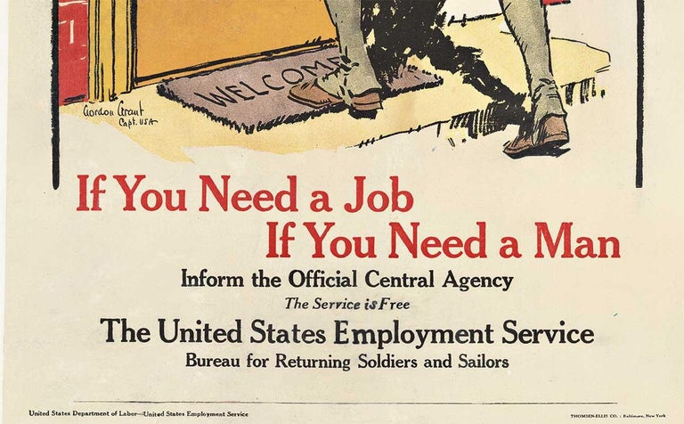 Jobs for Fighters original post World War 1 vintage American poster - Print by Gordon Grant